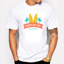 2017 Summer Time Design Men T Shirt Sunshine Palm Tree T-shirts White Fitness Beach Tee Shir