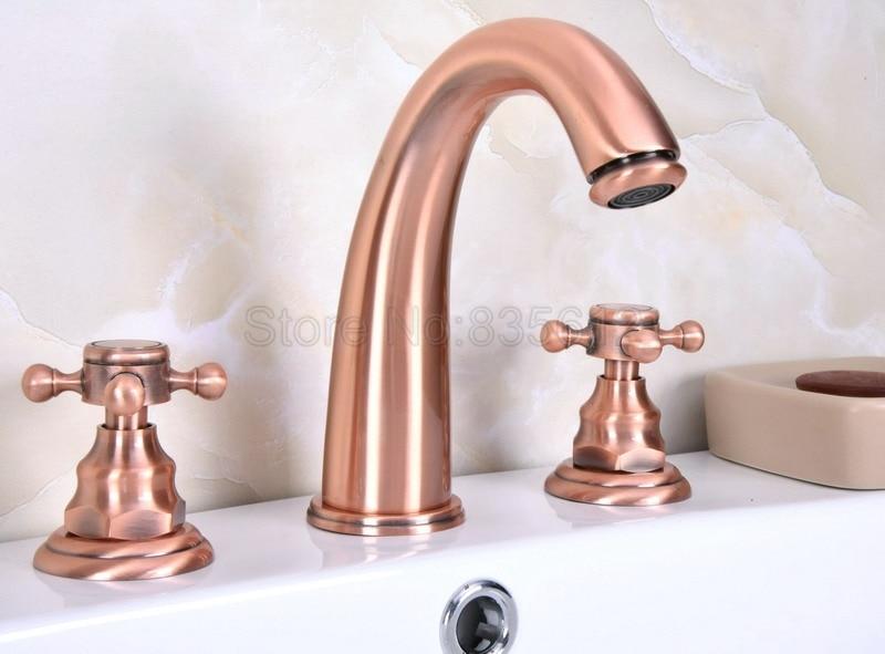Cheap Bathroom Faucets Single Handle Silver Brass Vessel: Antique Red Copper 3 Hole Widespread Bathroom Wash Basin