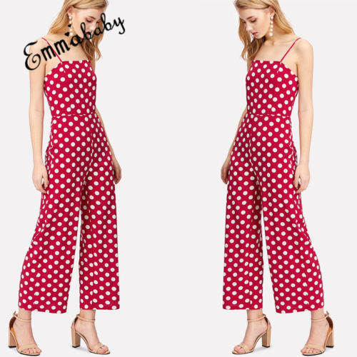 d2b89e321877 Polka Dot Suspender Jumpsuit pants 2018 Women Red Bandage Chiffon Cami  Jumpsuits Casual Bodycon Long Section female