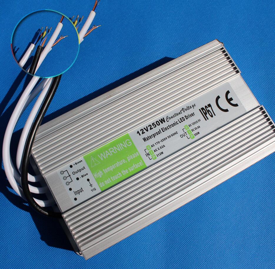 High quality DC12V 250W IP67 Waterproof LED Power Supply AC100-240V Input Electronic LED Driver Transformer for LED Light Strips best quality 12v 15a 180w switching power supply driver for led strip ac 100 240v input to dc 12v