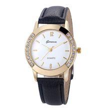 Для женщин Женева часы модные кожаные Нержавеющаясталь Аналоговые кварцевые наручные часы Relogio Feminino