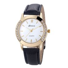 Women Geneva Watch Fashion Leather Stainless Steel Analog Quartz Wrist Watches Relogio Feminino