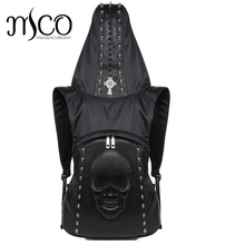 Cool 2017 Fashion Personality 3D skull leather backpack rivets skull backpack with Hood cap apparel bag cross bags hiphop man