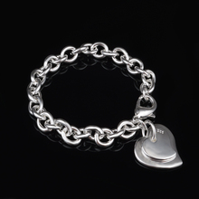 купить Double Smooth Heart Pendant Bracelet Bangles For Women Silver Plated Link Chain Charm Cuff Jewelry Gift Dropshipping дешево