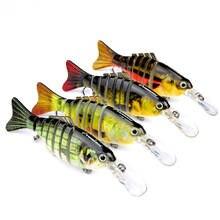 4pcs 11.2cm/14g Multi Jointed Fishing Lures Bait Bionic Fish Minow Crankbait Pike Musky Swimbait Sinking #6 Trebel Hook Sea Ice