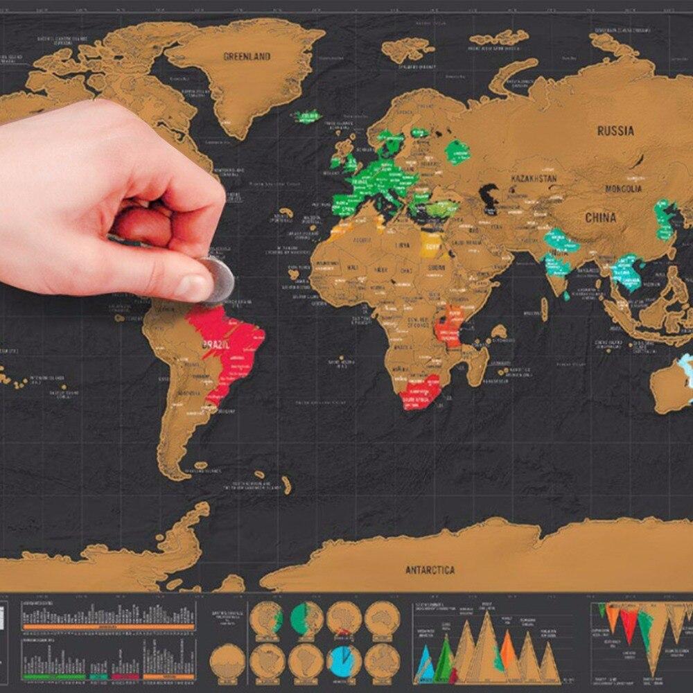 Mini Nero Deluxe Travel Raschiare Mondo Mappa Vacanza Poster Traveler Log Regalo Personalizzato Viaggi Vacanze Mappa 82.5x59.5 cm