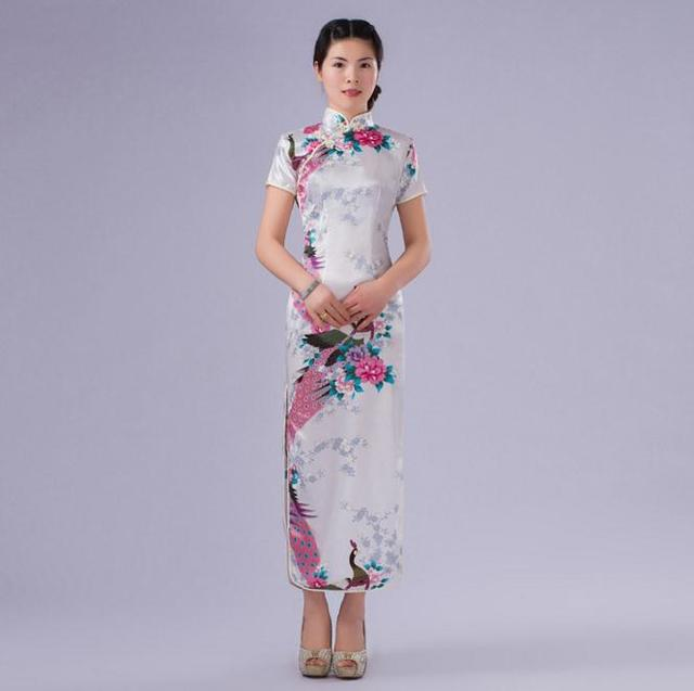 High Fashion White Chinese Women Print Dress Silk Rayon Cheongsam Long Slim Elegant Qipao Summer Casual Dress S M L XL XXL WC050