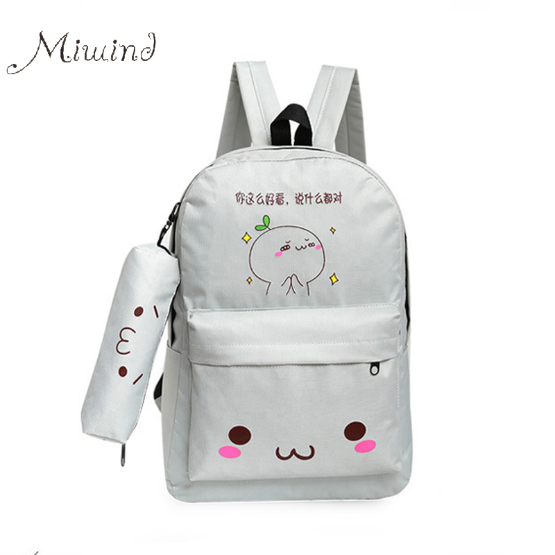 2017 Cute Designer Harajuku Printing Canvas Women font b Backpack b font Pencil Bags Two Set