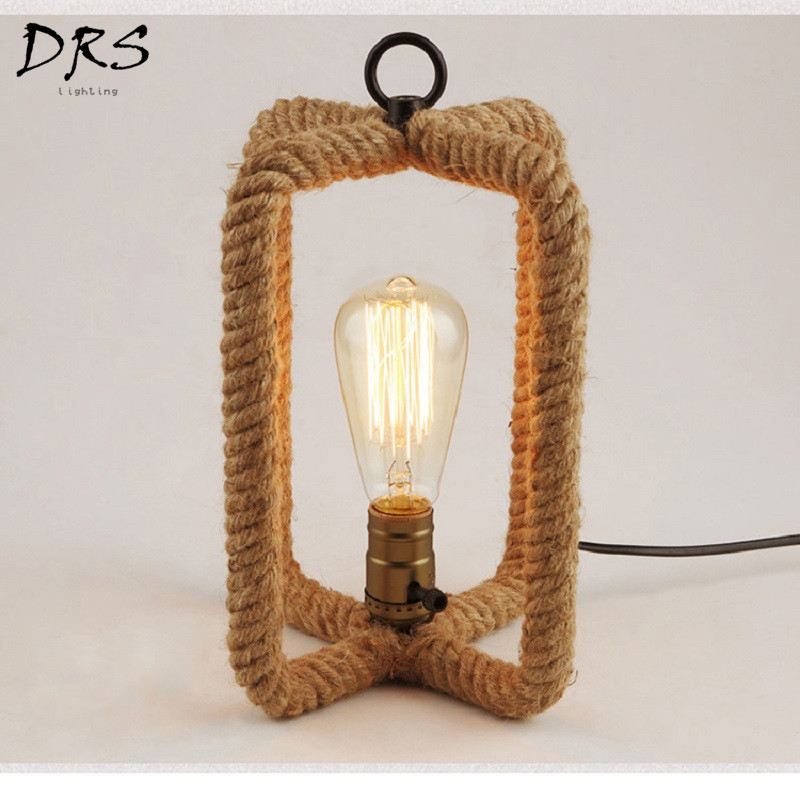 Nordic Hemp Rope Retro Table Lamp American Bedside Bedroom Study Desk Lights Dining Room Decor Home Lamparas De Standing LampNordic Hemp Rope Retro Table Lamp American Bedside Bedroom Study Desk Lights Dining Room Decor Home Lamparas De Standing Lamp