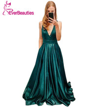 Simple V-Neck Dark Green Evening Dress Long 2019 A Line Sleeveless Satin Formal Party Gowns Abiye Gece Elbisesi