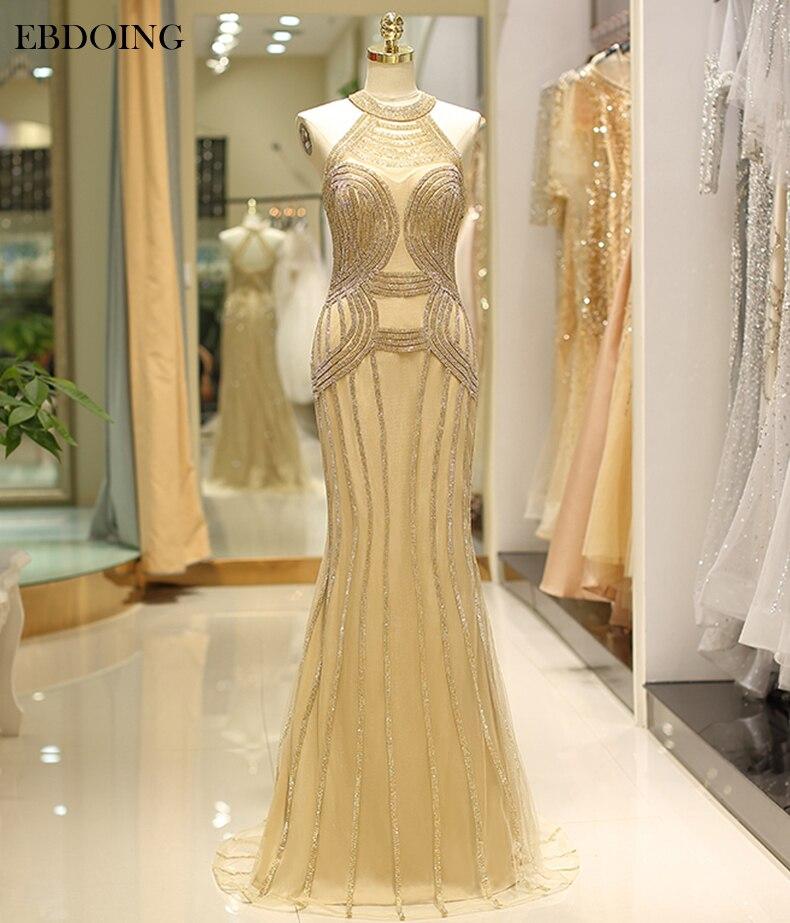 Robe de soiree Sexy Mermaid   Evening     Dress   Halter Neckline Vestidos de festa Plus Size Sleeveless Fromal   Dress   With Crystal
