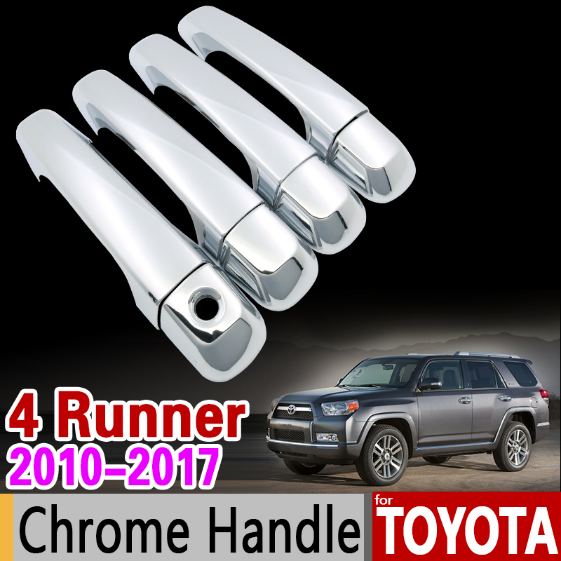 for Toyota 4Runner 2010 - 2017 Chrome Handle Cover Trim Set for 4 Runner 2011 2012 2013 2014 2015 2016 Accessories Car Styling stainless steel strips for toyota highlander 2011 2012 2013 car styling full window trim decoration oem 16 8