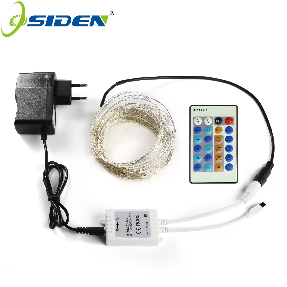 OSIDEN Holiday Lights DC Sliver Wire 5M10M Fairy Lights 12V 1A Adapter Christmas/New Year/Wedding Decoration Lights Led Strings