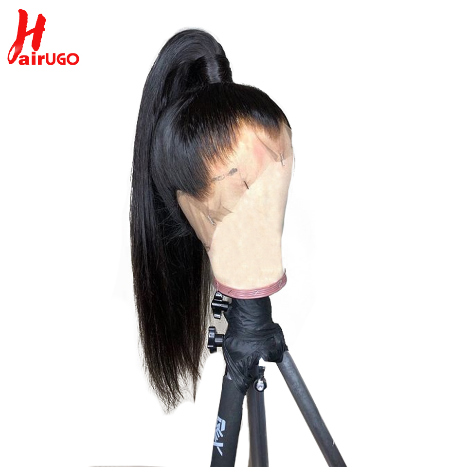 HairUGo 360 Lace Front Human Hair Wigs Straight Pre Plucked Hairline Baby Hair 150 Density Brazilian