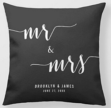 Modern Mr and Mrs Unique Silk Throw Pillow Case Cover Printed Both Sides