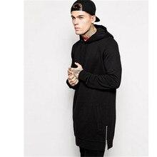 Neue Ankunft Freies Verschiffen Mode männer Lange Schwarz Hoodies Sweatshirts Feece Mit Seitlichem Reißverschluss Longline Hip Hop Streetwear Shirt