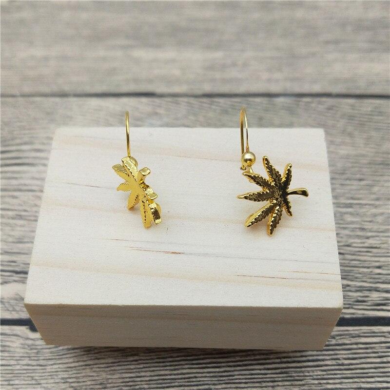 New Weed Leaf Drop Earrings Trendy Style Weed Leaf Dangle Earrings Fashion Nature Earrings Women Jewellery