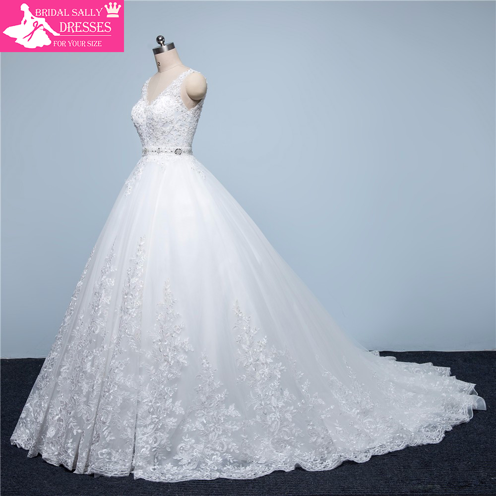 apparel peacock wedding dresses promotion aliexpress wedding dresses New Design A Line Lace Wedding Dresses V Neck Beaded Sash Backless Sexy Vintage Wedding Gowns China Online Shop MTOB