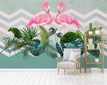 beibehang Custom size Nordic minimalist tropical plants three-dimensional papel de parede wallpaper flamingo TV sofa background