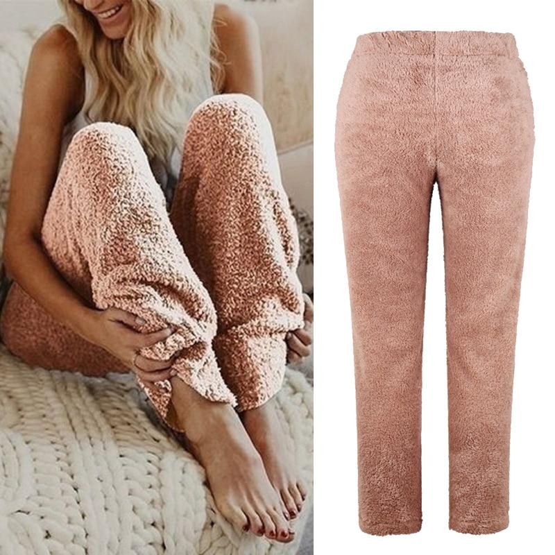 Women Autum Winter Sleepwear Soft Plush Sleep Bottoms Warm Fleece Night Wear Solid Color Long Pants Homewear Women pajamas