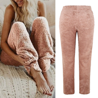 Women Autum Winter Sleepwear Soft Plush Sleep Bottoms Warm Fleece Night Wear Solid Color Long Pants Homewear Women pajamas