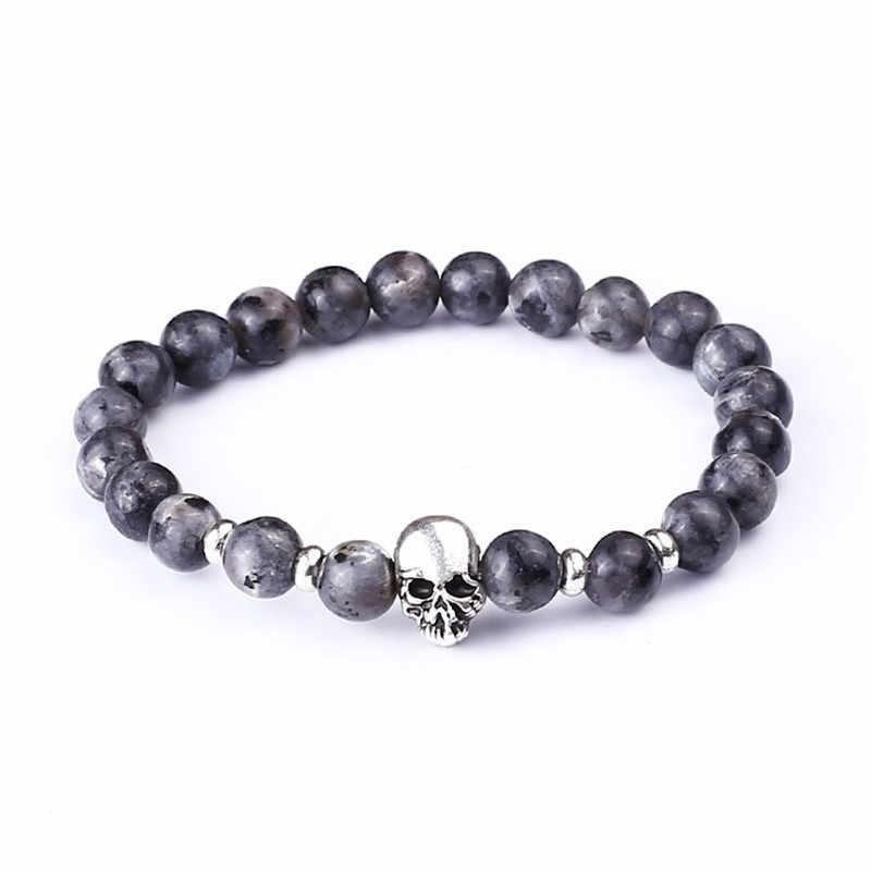 Kwarcowy matowy czarny lawa kamień tygrysie oko czaszka bransoletka z paciorkami dla kobiet mężczyzn Charms elastyczna budda koraliki bransoletka moda biżuteria