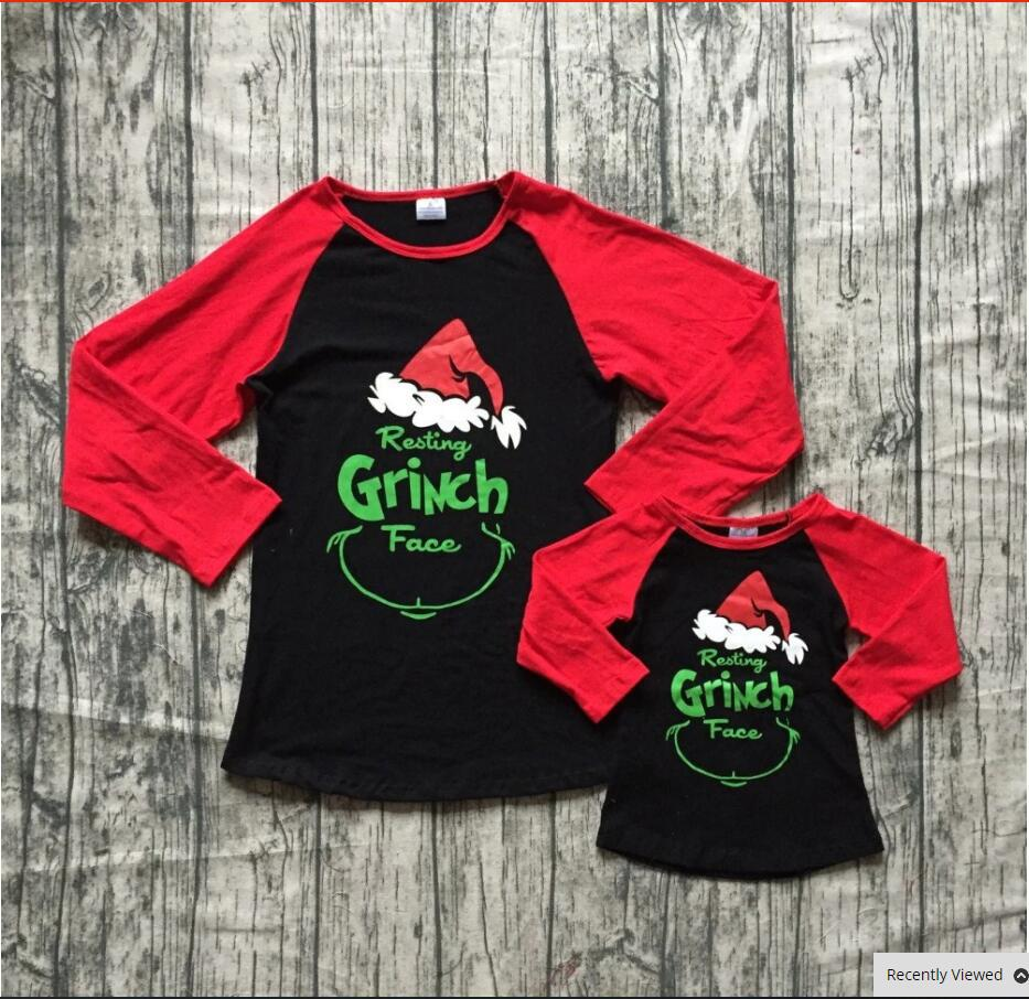 Baby Girls Mom and Me Red Black Raglan Top Kids Christmas Grinch Printed Tshirt Fall/Winter Red Long Sleeve Christmas Raglan top figure print zip up raglan sleeve jacket
