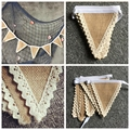 1Set 8Flags Vintage Burlap Banner Bunting Flags Wedding Photography Props Wedding Garland rustic wedding decoration centerpieces