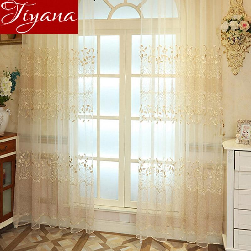 Hojas bordado voile Cortinas ventana moderna sala dormitorio sala de