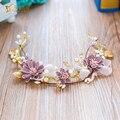 Мода бабочка заставку цветок hairband женщины чародей жемчужина короны невесты головной убор свадебные аксессуары для волос цзыи