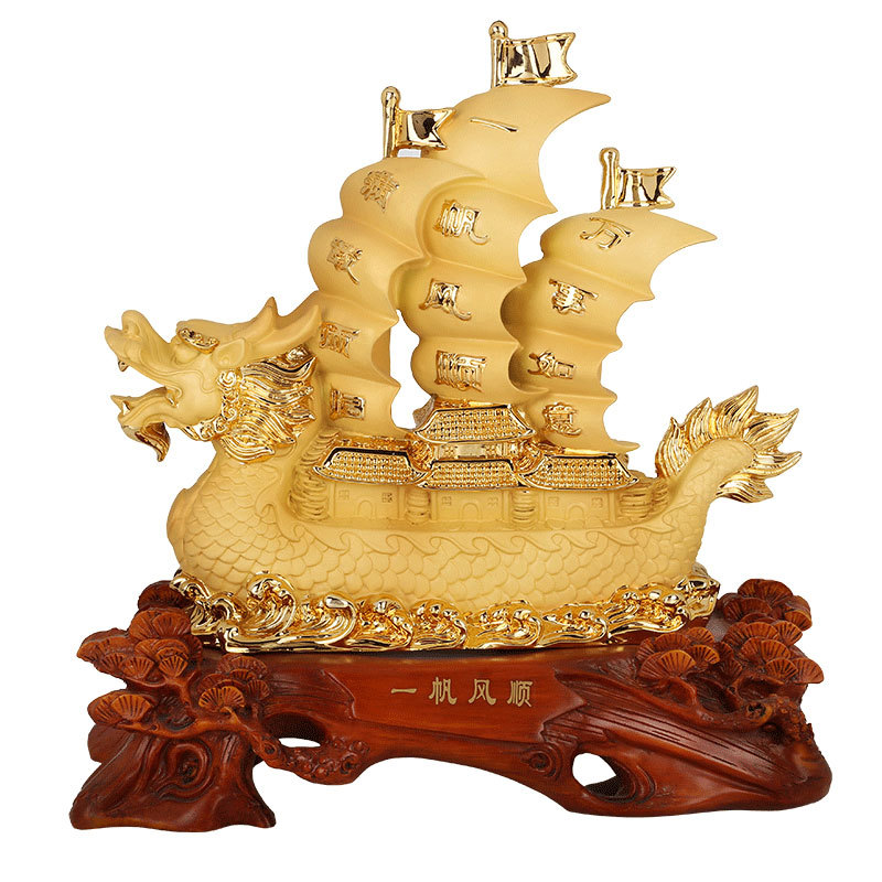 Chiński stylu żywicy żagle żeglarstwo smoka ozdoby domu szczęście rzemiosło dekoracyjne w Figurki i miniatury od Dom i ogród na  Grupa 1