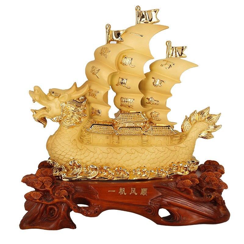 Chinesischen stil harz segel segeln drache ornamente hause glück dekoration handwerk-in Figuren & Miniaturen aus Heim und Garten bei  Gruppe 1