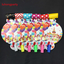6PCS 13*8cm Balloon Cake Blowout Noise Maker Happy birthday party decoration blow out cartoon pattern Party supplies LUHONGPARTY