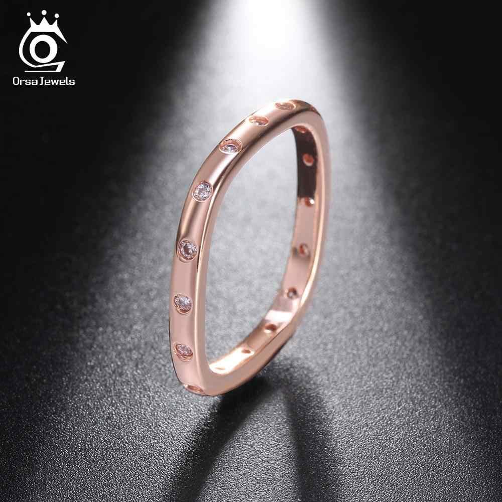 ORSA JEWELS คลาสสิกแท้ 925 เงินสเตอร์ลิง Eternity แหวน AAA Cubic Zircon แหวนเครื่องประดับหมั้นผู้หญิงเครื่องประดับ ASR51