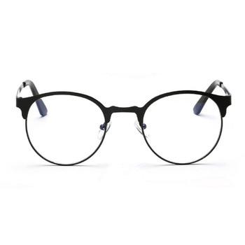 Round metal rim of optical glasses Fashion neutral intensity-free anti-blue casual glasses