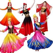 Folklórico de China Ropa de baile de actuación profesional para mujer falda de swing de élite para escenario, vestido de baile de escenario nacional de una comunidad