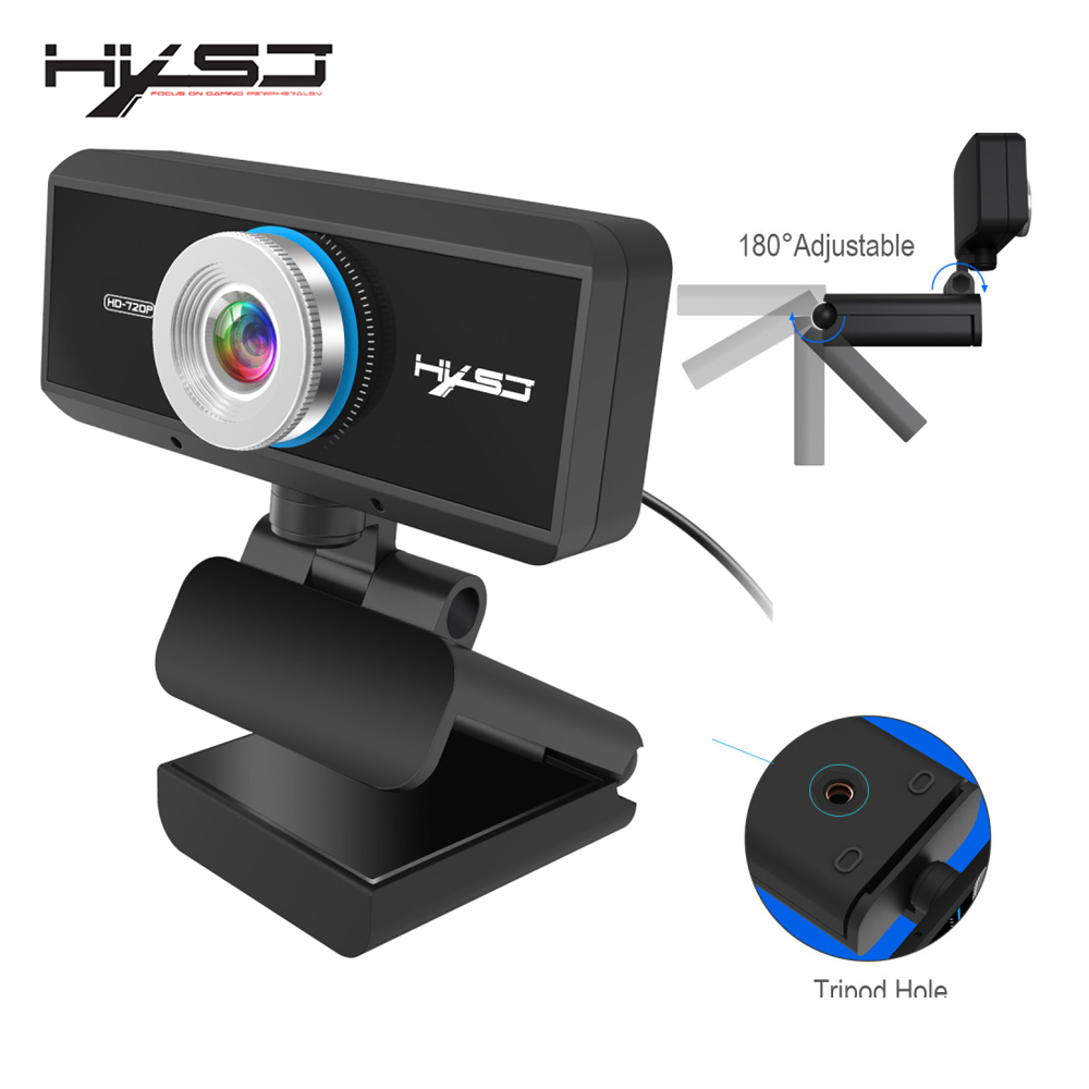 HXSJ USB Web Camera 720P HD 1MP Computer Camera Webcam Built-in Sound-absorbing Microphone 1280 * 720 Dynamic Resolution PC rx198 5 0 mega pixel hd web pc camera webcam built in led light with 360 degree rotating function support voice call