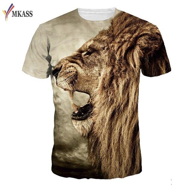 e0f602c5711 New Fashion Lion Print T-shirt Men Women Brand Tshirt Fashion 3d T shirt  Summer Tops Tees