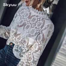 Skyuu 2019 Summer Lace Blouse Black White Long Sleeve Top For Women High Quality Shirts Vintage Elegant Womens Tops And Blouses