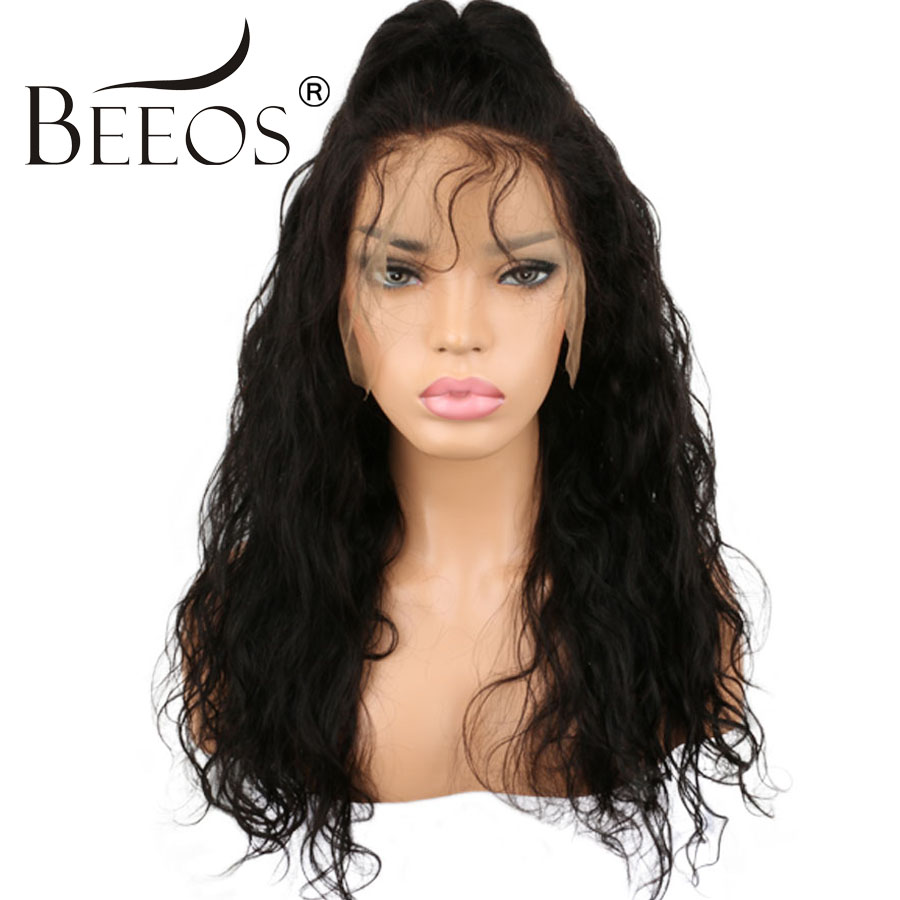 BEEOS Pre Plucked Brazilian Glueless Full Lace Wigs Human Hair With Baby Hair Non Remy Natural Black Color Wavy Wig For Women