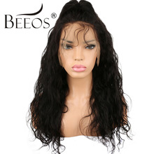 BEEOS Pre Plucked Brazilian Glueless Full Lace Wigs Human Hair With Baby Hair Non Remy Natural Black Wavy Wig For Black Women