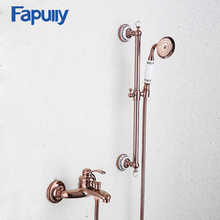 Fapully Rose Gold Bathroom Rainfall Shower Faucet Set Mixer Bathtub Wall Mounted Bath Restroom HS111