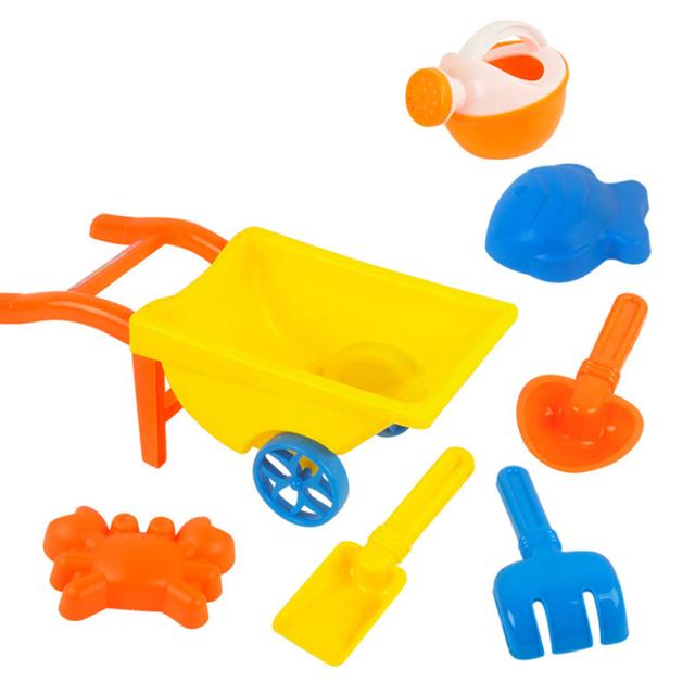 7 Peças Conjunto Carrinho de Brinquedo Da Areia Da Praia Grande com Saco de Rede para As Crianças-Cor Aleatória