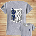 Anime Attack on Titan T-shirt Shingeki no Kyojin T-shirt Cosplay Costume Tops 100% Cotton Eren Jaeger T-Shirt Free Shipping
