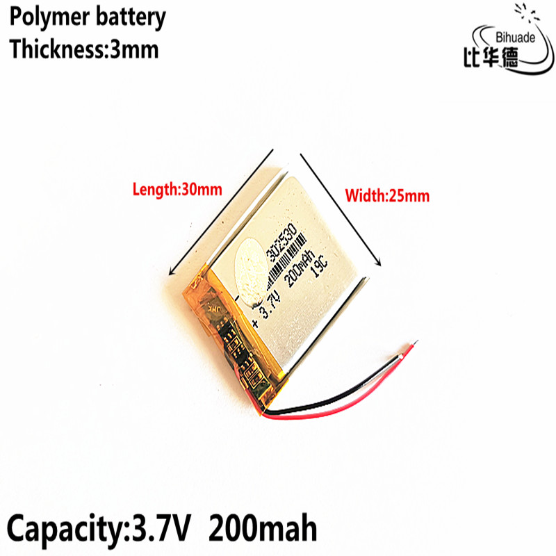 Liter energy battery Good Qulity 3.7V,200mAH <font><b>302530</b></font> Polymer lithium ion / Li-ion battery for tablet pc BANK,GPS,mp3,mp4 image