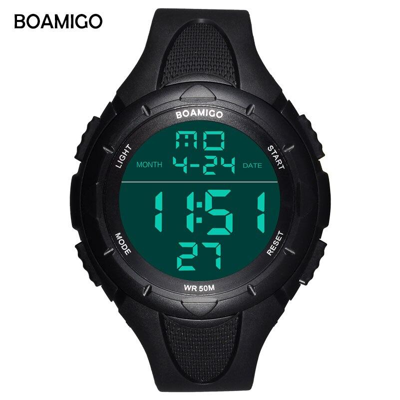 BOAMIGO Marke große gesicht Männer Digital LED shock Sport Uhren 50 Mt wasserdichte schwimmen multifunktions armbanduhren Relogios Masculino