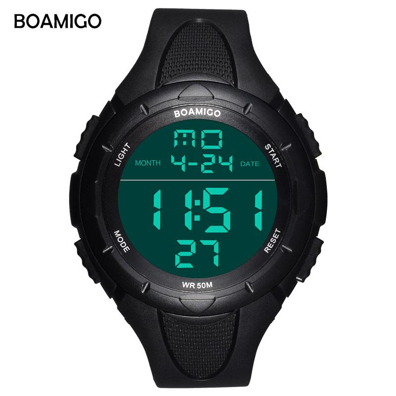 BOAMIGO با نام تجاری چهره بزرگ مردان شوک دیجیتال LED ساعتهای ورزشی 50 م ضد آب ضد آب مچ دست ساعت مچی چند منظوره Relogios Masculino