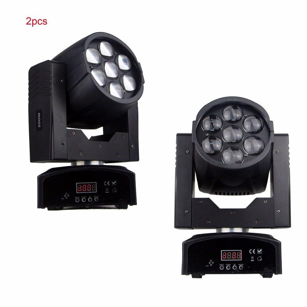 2 шт./лот диско диджей освещение увеличить стирка 7*15 Вт RGBW 4IN1 LED смешение цветов мини перемещения головы ...