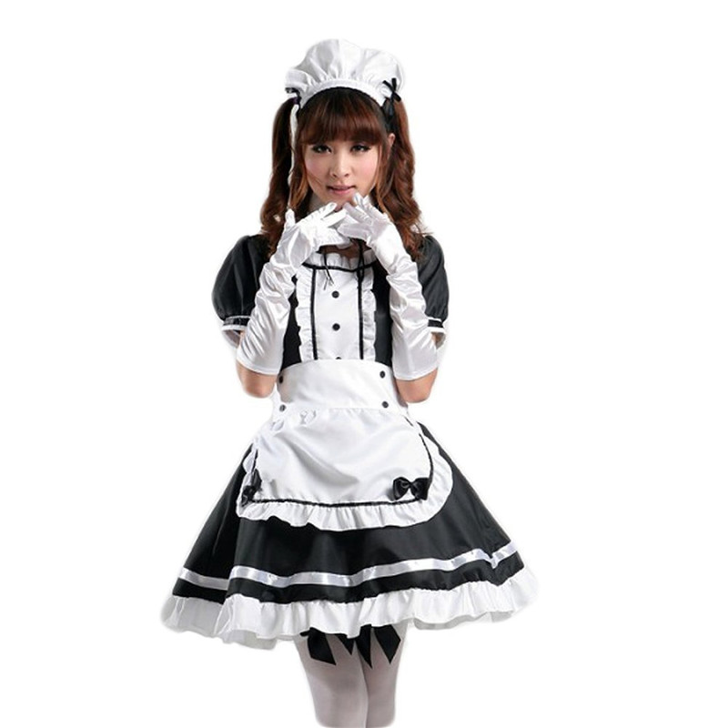 Ainiel Japanese  Anime Lolita Costume Summer Dress Party Restaurant Maid Servant Red Black and White Dress for Women and Girls