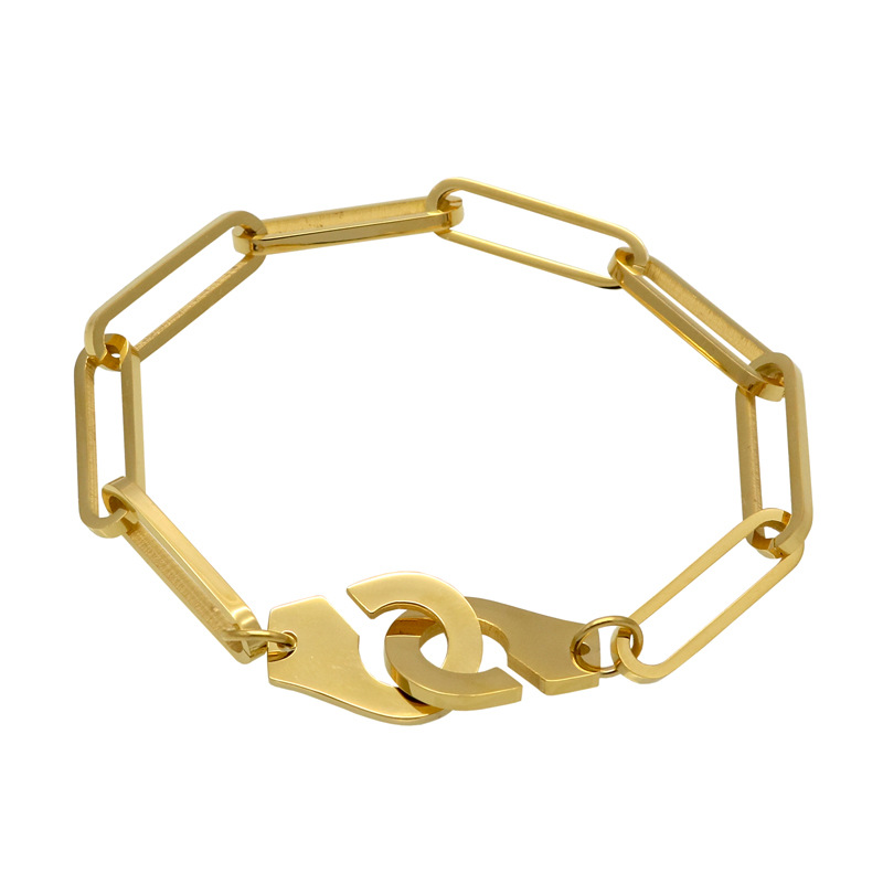 2019 Simple personality stainless steel couple jewelry tide male tide female titanium steel handcuffs bracelet bangle for women